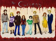 The Cullens by AngelinaCullen Light Red Hair, Reddish Hair, Pose, Alice, The Cullen, Fanart, Twilight Saga, Family Portraits, Good Times