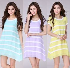 Aliexpress.com : Buy M~3XL 2014 women dresses Loose black and white striped chiffon dress plus size casual dress six colors desigual dress from Reliable Dresses suppliers on Isabella International Trade Co.,LTD