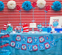 Grab this amazing FREE Dr Seuss Party Printables set! Everything you need for a party that is totally Seuss! Includes amazing party food ideas and party favor ideas and decor too! 2 Birthday, Dr Seuss Birthday Party, Twin Birthday Parties, Happy Birthday Banners, Birthday Party Themes, Birthday Ideas, Birthday Table, Dr. Seuss, Dr Seuss Party Ideas