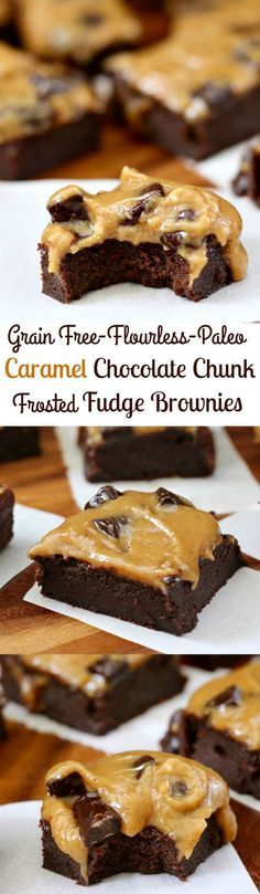 Healthy Flourless gluten free, grain free and #Paleo Caramel Chocolate Chunk Frosted Fudge Brownie Recipe - rich flourless dairy free fudge brownies with a creamy caramel chocolate chunk frosting! Delicious Dessert!