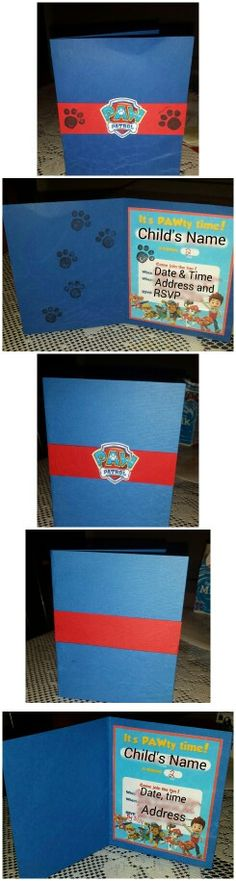 Paw Patrol Birthday Invite. Print out invites from Nick Jr, then mount onto 5 x 8 card stock folded in half. Place a strip of red card stock, the logo printed on white card stock. Finish off with the cute paw print stamps.