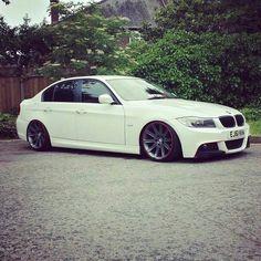 BMW E90 3 series white slammed