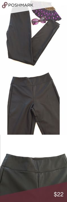 """listing! Skinny Black Pants Skinny leather-look pants by Elodie. Wide waistband.  Inseam 28"""" waist 13.5 laying flat.  Leg opening 4.25"""".  75% polyurethane 25% polyester. Elodie Pants Skinny"""
