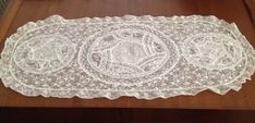 Vintage French Normandy Lace Runner Light Ecru Cream by Relikology