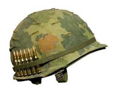 What image comes to mind when we think of an army helmet. The M1, its what the little green army guys wear. This M1 with the iconic Vietnam war helmet camo cover and full metal jacket M60 rounds in its band, served the US forces well for 44 years.