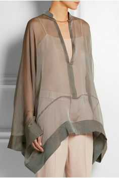 Simple sheer poncho top