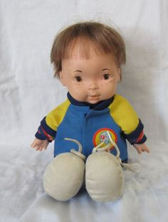 """SOLD-Vintage 1970's Fisher Price Joey Lapsitter Boy Doll 14"""" #206 with Jacket & Laces #FisherPrice #Dolls"""