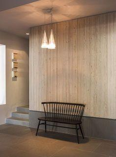 "I want my own house & my own ""Olo Yogurt Studio"" elegant home interior decor chandelier interior design and decor desi. Interior Cladding, Interior Walls, Interior Architecture, Futuristic Architecture, Contemporary Architecture, Timber Walls, Timber Panelling, Wooden Cladding, Wall Panelling"