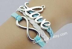 Jewellery bracelets,Love bracelet,leather bracelet,infinity bracelet,hipsters jewelry,charm,white leather bracelet,light blue rope bracelets on Wanelo
