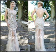 Free Shipping Scoop Sleeveless Floor-length Tulle beading and beautiful embroidery Champagne Prom Dresses Mermaid