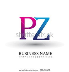 initial letter logo PZ colored red and blue, Vector logo design template elements for your business or company identity
