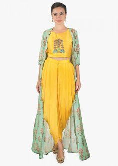 Yellow Crop Top Matched With Fancy Dhoti Pant And A Full Length Floral Jacket Online - Kalki Fashion Kurta Designs Women, Blouse Designs, Crop Top Designs, Indian Attire, Indian Outfits, Stylish Dresses, Fashion Dresses, Farewell Dresses, Mehendi Outfits