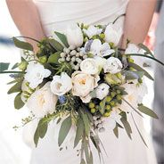 Instead of a bouquet toss, give bouquet to couple married longest. Ask them to share a few words of wisdom.