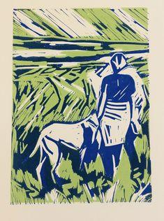 Greyhound reduction Lino print
