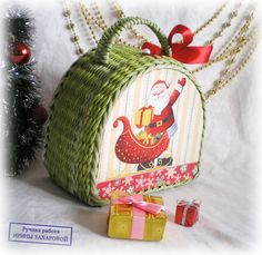 Christmas woven handbag New year gift Christmas by FloraFantasyIZ