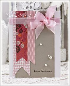 Feminine retirement card using Teeny Tiny Wishes by Stampin' Up!, and skinny scrap strips of patterned papers.  Made a 'Colleen Bow' with pink seam binding from Hug Snug.