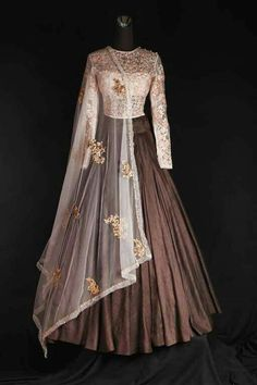 Plated silk Lahenga with white high neck blouse and dupatta get it done at…