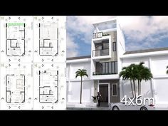 Narrow Home Lot Design By Samphoas ArchitectThis villa is modeling With 3 stories level.Narrow Home Plan Meter House description:The House Narrow House Designs, Small House Design, Modern House Design, Small Modern House Plans, Modern Farmhouse Plans, Townhouse Designs, Bungalow House Design, Home Design Plans, House Layouts