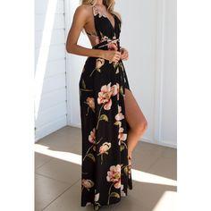 Black Floral Print Cross Back Deep V-neck Backless Spaghetti Strap Maxi Dress Sexy Maxi Dress, Dress Up, Maxi Dresses, Dress Long, Fall Fashion Trends, Autumn Fashion, Fashion News, Women's Fashion, Cute Dresses