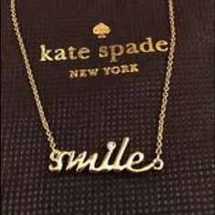 """NWT Kate Spade Smile Necklace Price FirmNo Offers Adorable!!  New with tags. Comes with Kate spade dustbag and Kate spade gift box. Adorned with a cute cubic zirconia stone! Measures 16"""" long.  Gold plated.  Sold out online and in stores!  No trades. kate spade Jewelry Necklaces"""