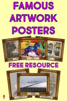 Six high resolution, beautifully presented art posters contains one of each media: sculpture, printmaking, drawing, oil painting earth art and watercolor. Each poster is labeled with the title, artist, year and materials. #artreproductions #arthistoryforkids #artposters #artappreciationforkids History Lessons For Kids, Art Lessons Elementary, High School Art, Middle School Art, Art Room Posters, Famous Sculptures, Famous Artwork, Art Curriculum, Chalk Drawings