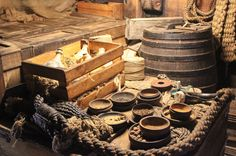 A beautiful set of crate and barrels on aboard The Dutch East India Company (VOC) ship.