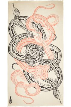 Year of the Snake // Horiyoshi the Third Snake printed silk and cashmere-blend scarf NET-A-PORTER.COM