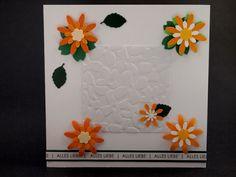 Alles Liebe, Birthday card, flower punch, orange, yellow, white, green, leaves