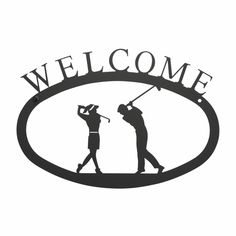 Two Golfers Welcome Sign Large - Black wrought iron welcome sign with the silhouette of a man and woman golfer swinging a club
