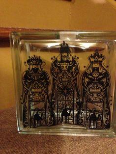 Beautiful Glass Block, made by Sherry Kass, using my Three Kings file