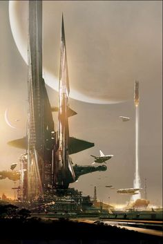 """City and spaceport on a distant planet, #spaceopera #scifi inspiration Stephan Martiniere, """"Starry Rift"""""""