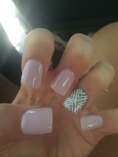 Pink nude with silver sparkly nail