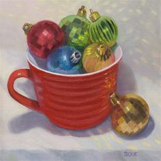 "Daily Paintworks - ""Christmas Balls in Red Cup"" - Original Fine Art for Sale - © Jana Bouc"