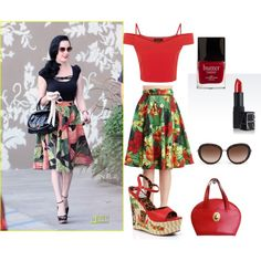 Pinup Fashion: Dita Hawaiian Outfit by ashliabelle on Polyvore featuring Ellie, Christian Dior, Giorgio Armani, NARS Cosmetics, Butter London and vintage