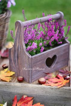 rustic wooden tool box garden planter with cute heart accent.