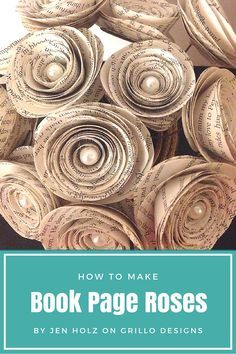 I love these paper roses created by Jen holz from JLH upcycling .They are super easy to make and there are so many different ways they can be displayed in your… Wire Flowers, Paper Flowers, Book Flowers, Fabric Flowers, Origami, Mesh Wreath Tutorial, Bow Tutorial, Flower Tutorial, Book Page Roses