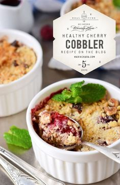 Our Honey Cherry Cobbler is made with a gluten-free, crumbly oat topping and sweet Eastern Shore Honey for a light summertime treat. Strawberry Rhubarb Crisp, Cherry Cobbler, Gluten Free Sweets, Gluten Free Oats, Dairy Free, Easy To Make Desserts, Delicious Desserts, Yummy Food, Plums And Peaches