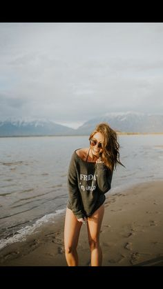 Friday I'm in love Sweater off the shoulder for a swimsuit coverup. Beach photo. Summer.