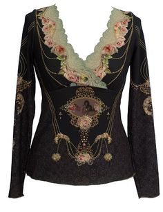 Vintage Inspired Printed Lycra Michal Negrin Long Sleeves V-Neck Shirt Crafted with Hand Dyed Lace Trim, Swarovski Crystals and Glitter - Size M Vintage floral pattern. Hand dyed lace trim accenting the V-neck. Hand-wash, dry flat. Perfect to wear for all special occasions, this unique designer garment guarantees to have all eyes on you. Each item is sewn individually by hand In Israel.