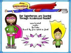 Accelerated Reader Interactive Bulletin Board-Superhero Theme
