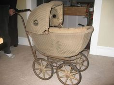 Collectibles-General (Antiques): Wicker Baby Carriage Restoration, Lloyd Loom wicker buggy, wicker baby buggy