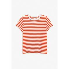 Monki Stretch cotton tee (€3,39) ❤ liked on Polyvore featuring tops, t-shirts, sleek stripes, striped t shirt, stripe t shirt, stretch cotton t shirt, stripe tee and striped tee