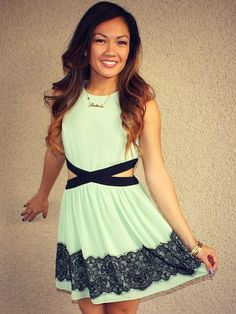 Mint paired with black lace, unusual and fun