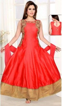 Red Color and Silk Fabric Anarkali Ready Made Dress with Dupatta | FH447670405 #salwar, #kameez, #readymade, #anarkali, #patiala, #pakistani, #suits, #online, #stitched, #indian, #dress, #material, #shopping, #fashion, #boutique, #mode, @heenastyle