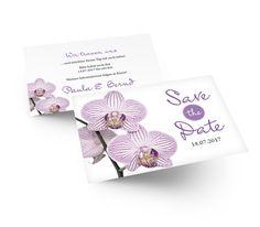 Wunderschöne romantische Save the Date Karte mit zauberhaften Orchideen in Lila gehalten. Save The Date Karten, Place Cards, Place Card Holders, Lilac, Card Wedding, Orchids, Invitations, Nice Asses