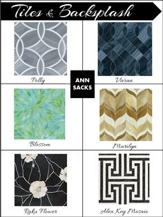 Interior Design Boards, Ann Sacks, Tiles, Mosaics, Backsplash, Interior Design board, e-design, e-décor, inspiration board, www.stellarinteriordesign.com