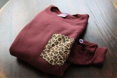 DIY idea: add a patterned pocket to a boring old sweatshirt. Kinda like the Frat Collection