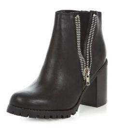 Black Double Zip Chunky Heel Boots