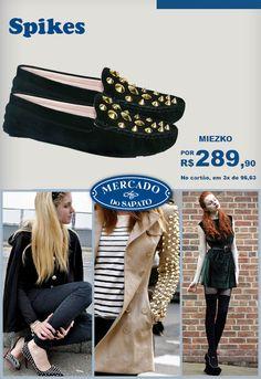 Os spikes estão fazendo a cabeça das fashionistas do mundo inteiro. Inseridos em acessórios e roupas essas tachinhas revelam uma pegada de rock com um toque de glamour. Acesse esse modelo na nossa loja online: www.mercadodosapato.com.br