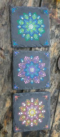 A set of 3 coasters, Acrylic on slate. Handmade by Lis